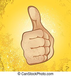 Thumb Up Gesture Expressing Satisfaction, Approvement,...
