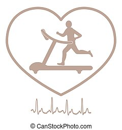 Stylized icon of the man jogging on a treadmill within the heart icon and heart rhythm