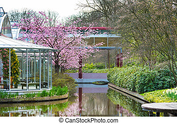 Pavillion and flower blossom in dutch spring garden,...