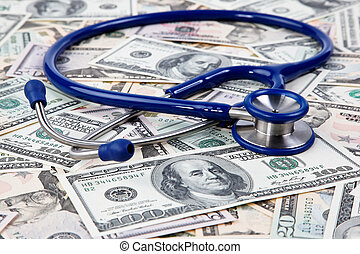 Costs of health, stethoscope and dollar bills - Costs for...