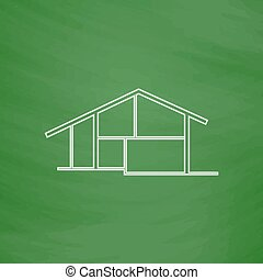cottage computer symbol - cottage Outline vector icon...