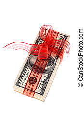 Dollar bills as money gift - US dollars cash receipts for a...