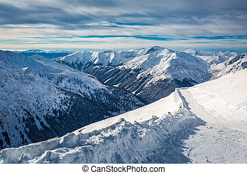 Beautiful winter view from the summit of Kasprowy Wierch,...