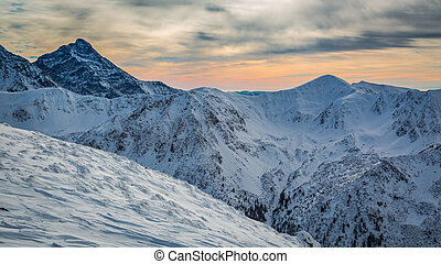 Winter Tatra Mountains at sunset, Poland