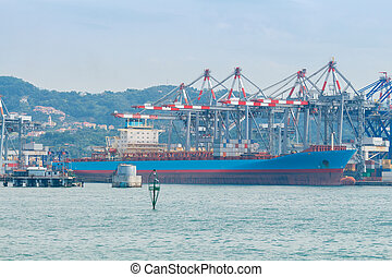 La Spezia Cargo port - View of cargo port and container...