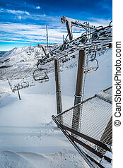 Frozen cableway in the mountains, Tatras, Poland