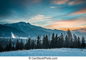 Zakopane during the skiing competitions at sunset in winter,...