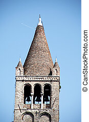 Bell tower of a church in Italy