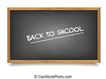 School black Board. - Words back to school written on a nero...