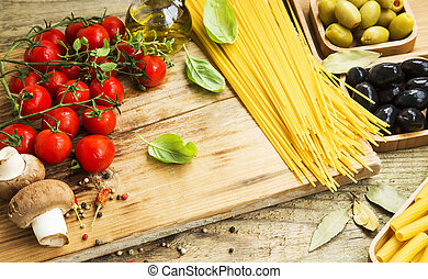 Spaghetti pasta with basil and italian ingredients