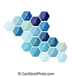 Hexagonal icon template. Vector.