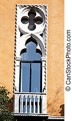 Stucco decorated window on a building in Venice - Window in...