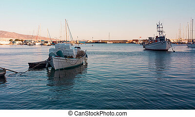 Little harbor in Mikrolimano, Attica - View of the boats in...