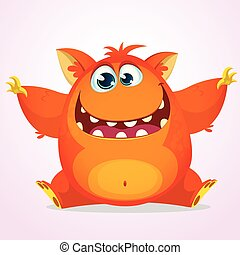 Vector cartoon of an orange monster