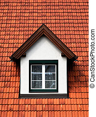 Dormer windows with glazing bars in a red roof - Dormer...