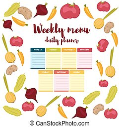 Weekly menu daily planner