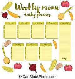 Weekly menu green daily planner