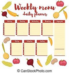 Weekly menu daily red planner