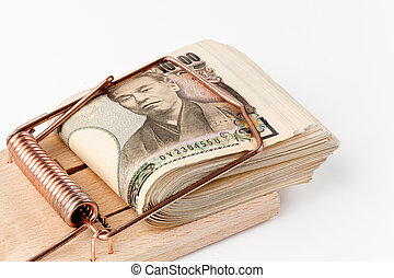 Japanese yen bank notes in mousetrap - Yen notes from Japan...