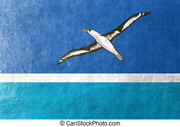 Flag of Midway Atoll (unofficial), painted on leather...