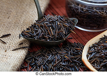 Metallic old spoon with wild rice - Wild rice and metallic...