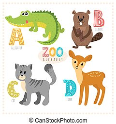 Cute cartoon animals. Zoo alphabet with funny animals. A, b, c, d letters. Alligator, beaver, cat, deer