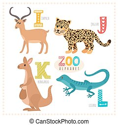 Cute cartoon animals. Zoo alphabet with funny animals....