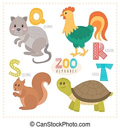 Cute cartoon animals. Zoo alphabet with funny animals. Quokka, rooster, squirrel, turtle