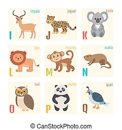 Cute zoo alphabet with animals in cartoon style Impala,...