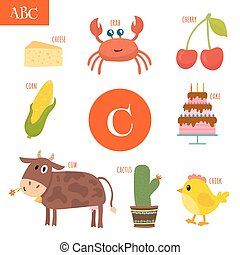 Cartoon alphabet for children. Cake, cow, cherry, cactus, cheese, crab, corn, chick