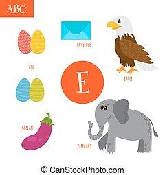 Letter E. Cartoon alphabet for children. Egg, eggplant, elephant, eagle, envelope