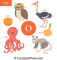 Letter O. Cartoon alphabet for children. Owl, opossum,...