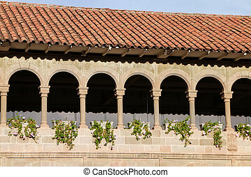 Courtyard of Convent of Santo Domingo in Koricancha complex,...