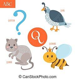 Letter Q. Cartoon alphabet for children. Quail, question,...