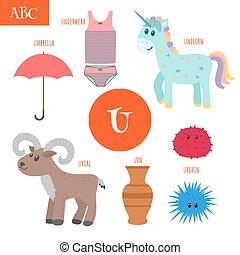 Letter U Cartoon alphabet for children Unicorn, umbrella,...