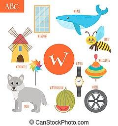 Letter W. Cartoon alphabet for children. Watermelon, whale, wolf, watch, windmill, whirligig, wheel, wasp, window