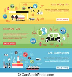 Gas Industry Horizontal Banners Set - Gas industry...