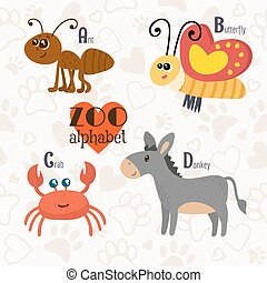 Zoo alphabet with funny animals. A, b, c, d letters. Ant, butterfly, crab, donkey