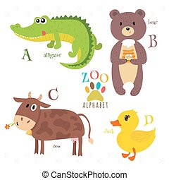 Zoo alphabet with funny cartoon animals. A, b, c, d letters. Alligator, bear, cow, duck