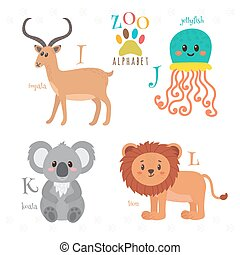 Zoo alphabet with funny cartoon animals I, j, k, l letters...