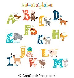 Zoo Cute cartoon animals alphabet from A to M in cartoon...