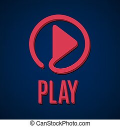 Play sign. Media interface control. Film, movie and clip...