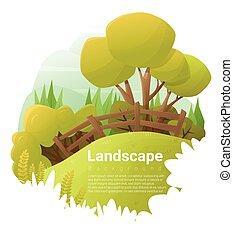 Green landscape background , vector , illustration