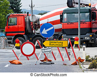 Diversion because of a blocked road construction site -...