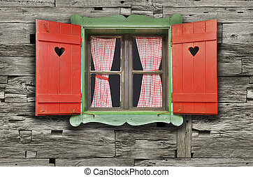 Chalet Window - Colorful Wooden Chalet Window on Weathered...