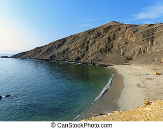La Mina Beach in Paracas National Reserve, Peru - La Mina...