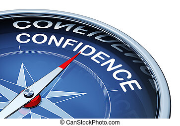 confidence - 3D rendering of a compass with a confidence...