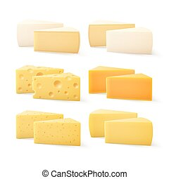 Triangular Pieces of Various Kind of Cheese Swiss Cheddar...