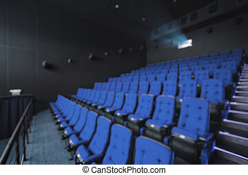 Abstract blur Empty rows of red theater or movie seats. Chairs in cinema hall. Comfortable armchair