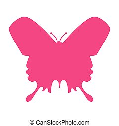 butterfly silhouette icon - butterfly pink silhouette...